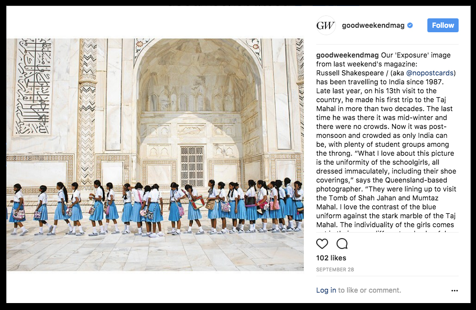 """Thanks to Good Weekend Magazine for running one of my India images on their """"Exposure"""" page.  ©Russell Shakespeare 2017"""
