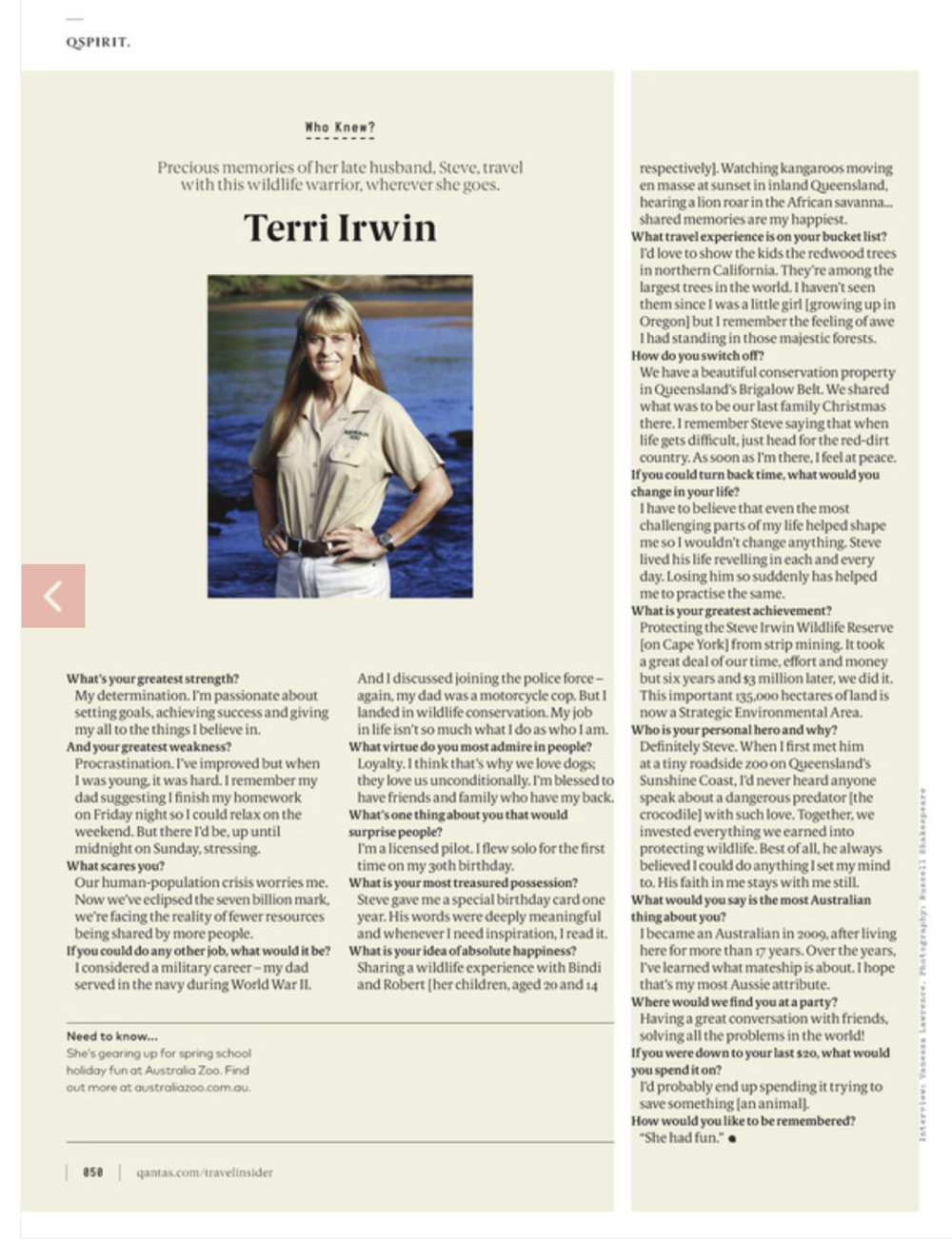 Terri Irwin photographed at The Steve Irwin Wildlife Reserve for Qantas Magazine