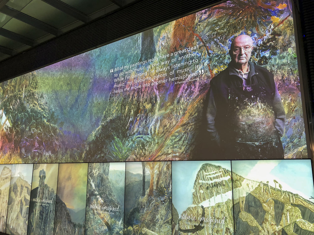 "It was great to see my portrait of the Artist ""William Robinson""  featured on one of the interactive display screens at The Cube, QUT Gardens Point Campus, Brisbane.   http://www.thecube.qut.edu.au/cube-screens/2018/nature-imagined.php"