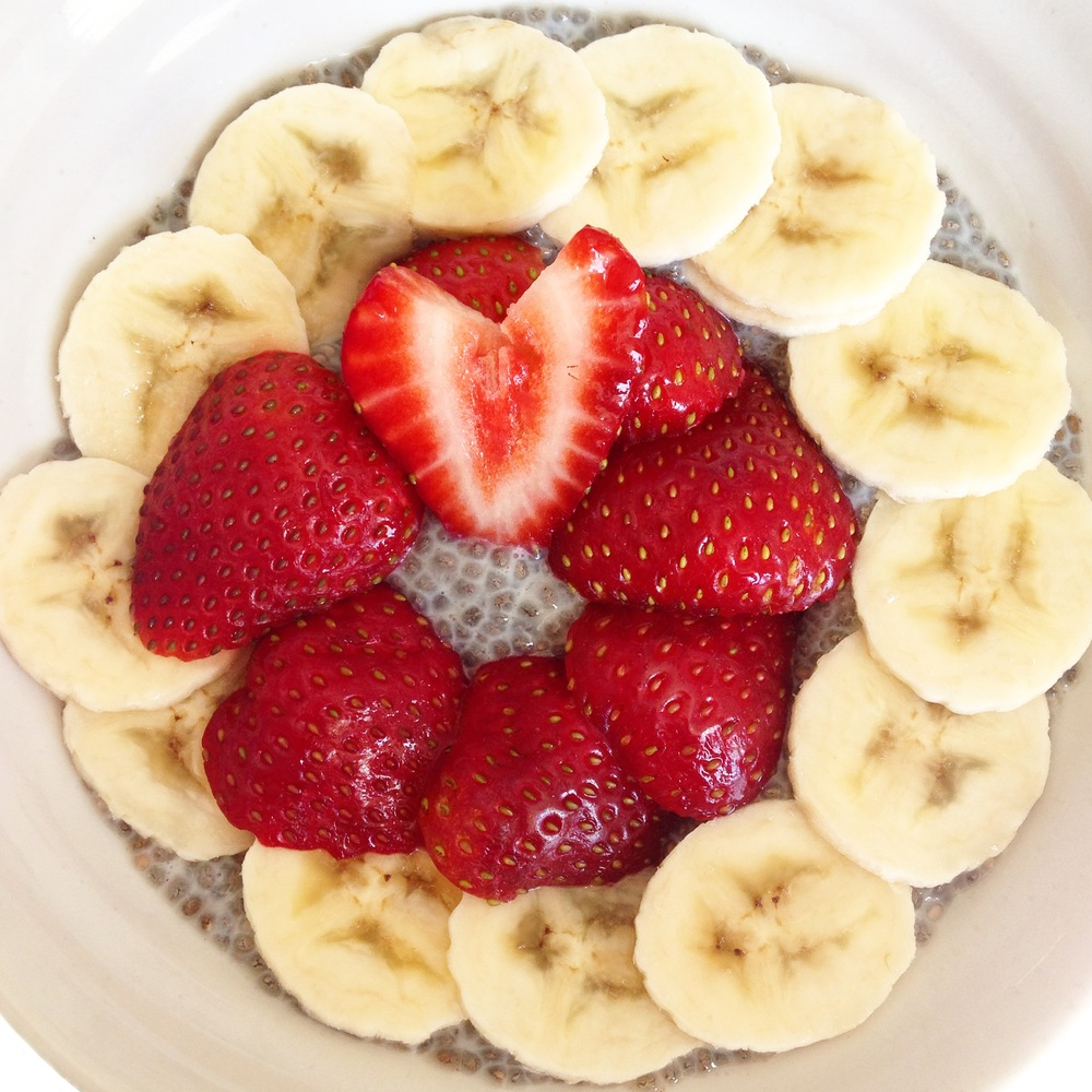 Strawberry and banana chia pudding.