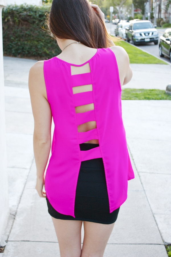 back of pink tank