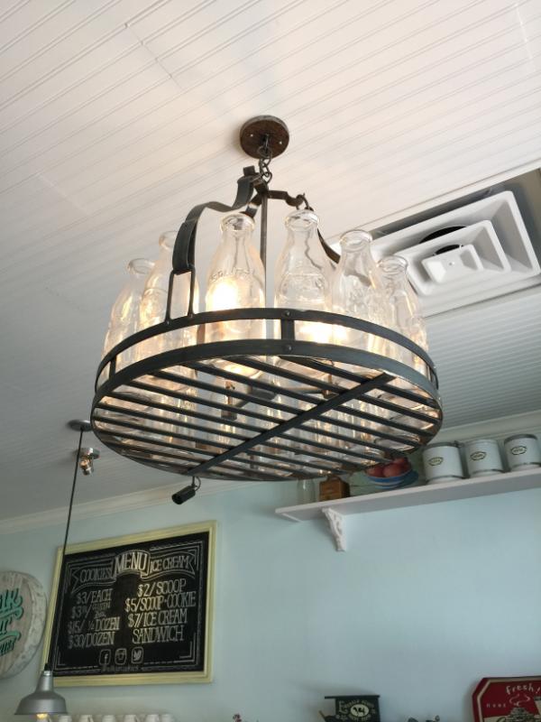 This milk jar chandelier is so creative!