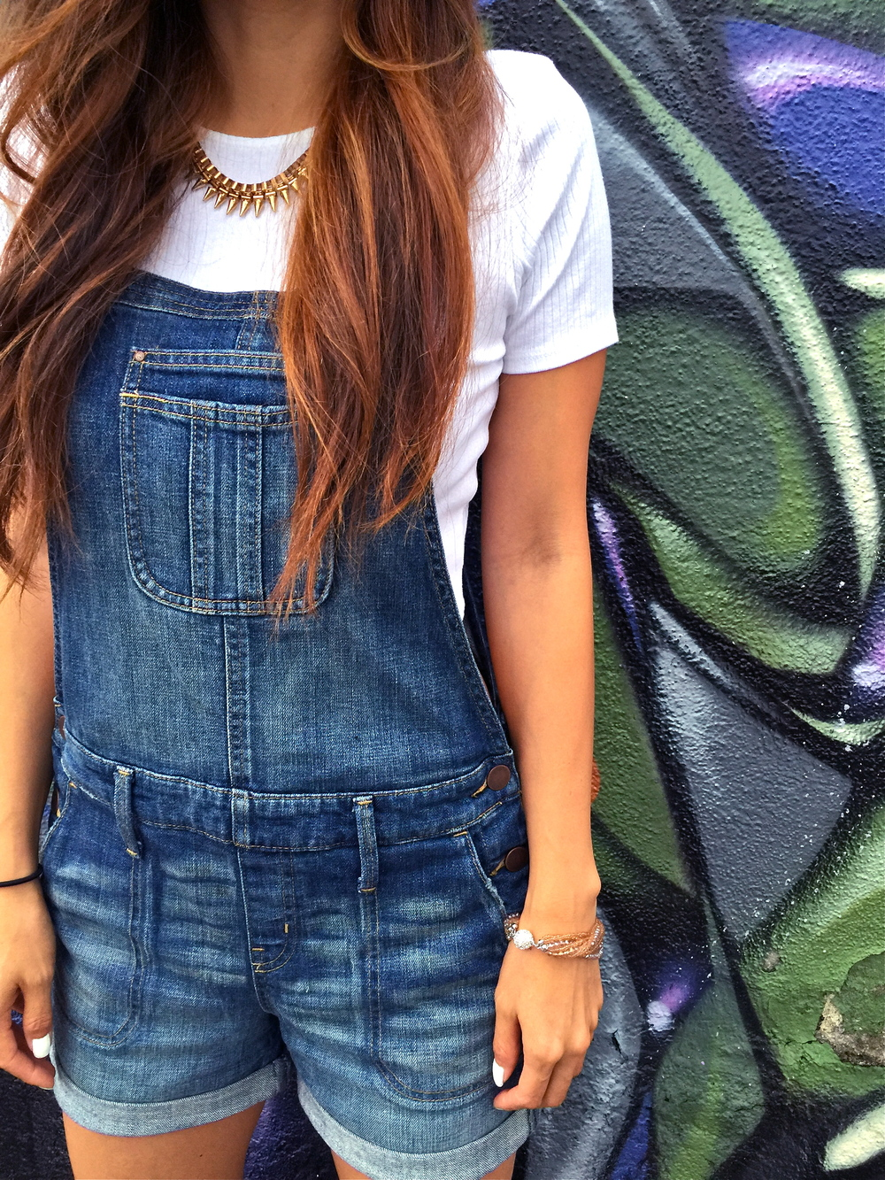 denim overall shorts and top shop crop top