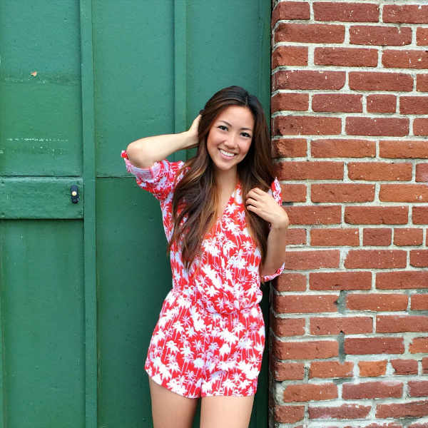 Trouve red and white romper