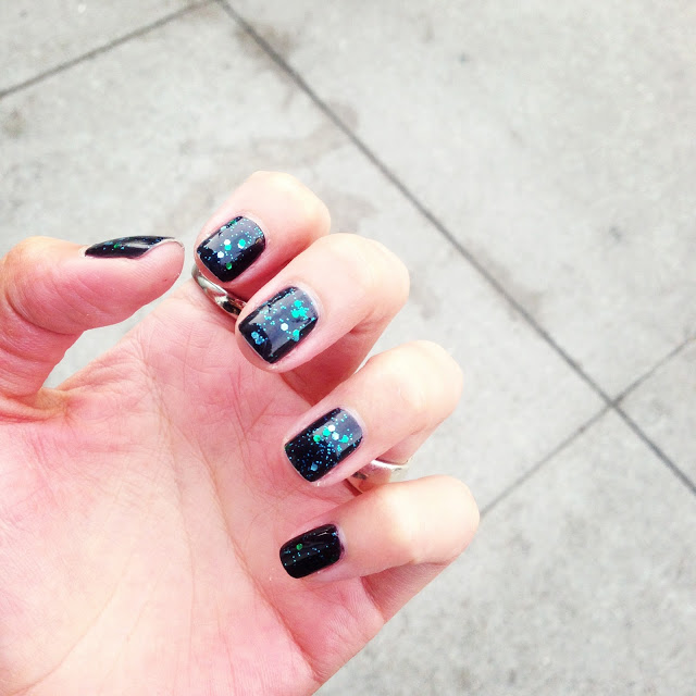 Across the Universe -Deborah Lippmann   l  ayered over   901 DIVA by Dior   (black with shimmer)