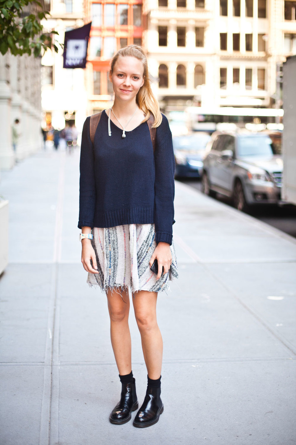 Louisa Nolte from NYU Free People dress and Swatch watch.