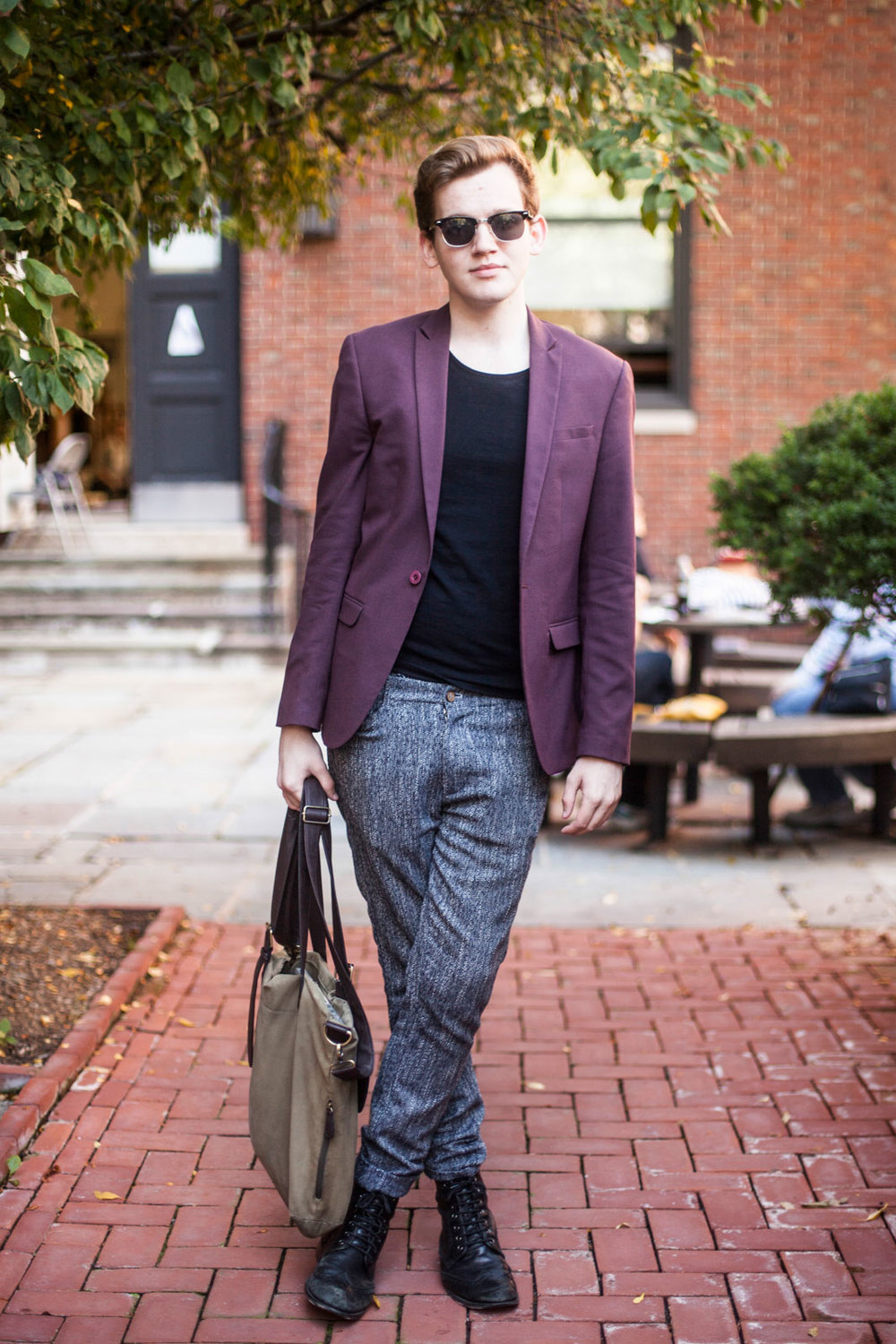 Matt White from Columbia Topman T-shirt, sunglasses, blazer, pants, and boots, all from ASOS