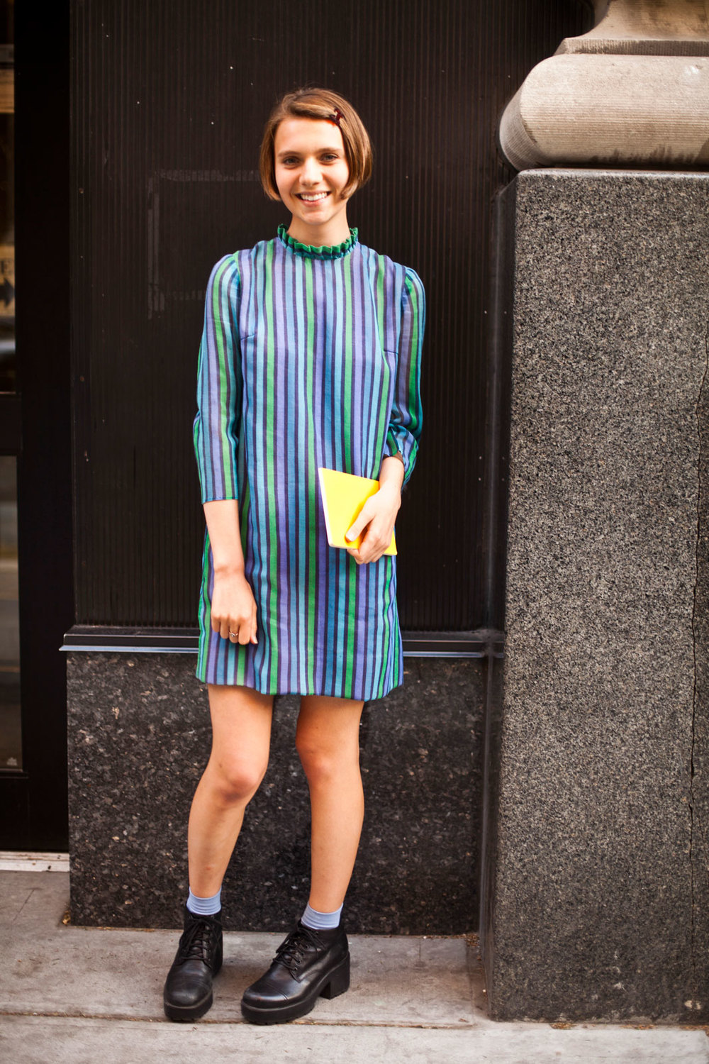Sasha Frolova from NYU Vintage dress and a Moleskine notebook