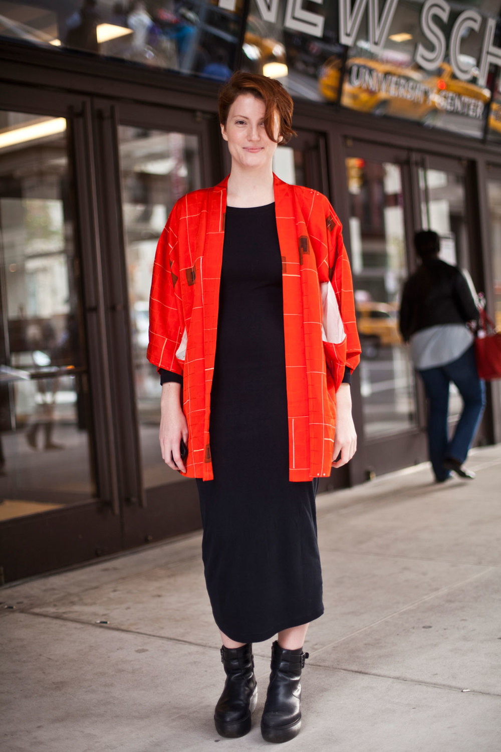Deirdre Gaine from Parsons  American Apparel dress, kimono purchased on eBay, and Dr. Martens shoes