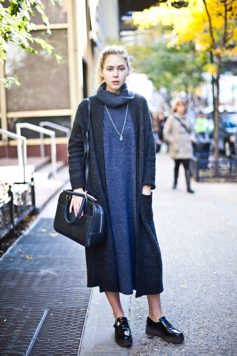 Amanda Brohman from FIT ASOS dress, Zara sweater and shoes, Claire Vivier bag