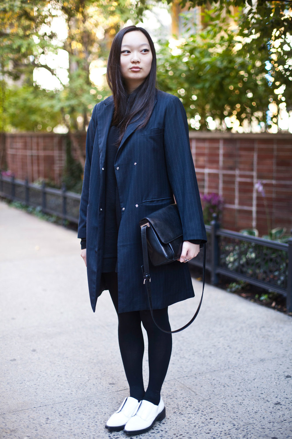 Jessica Wu from FIT Forever 21 dress, Uniqlo turtleneck, Pixie Market jacket, Zara shoes, and a vintage bag