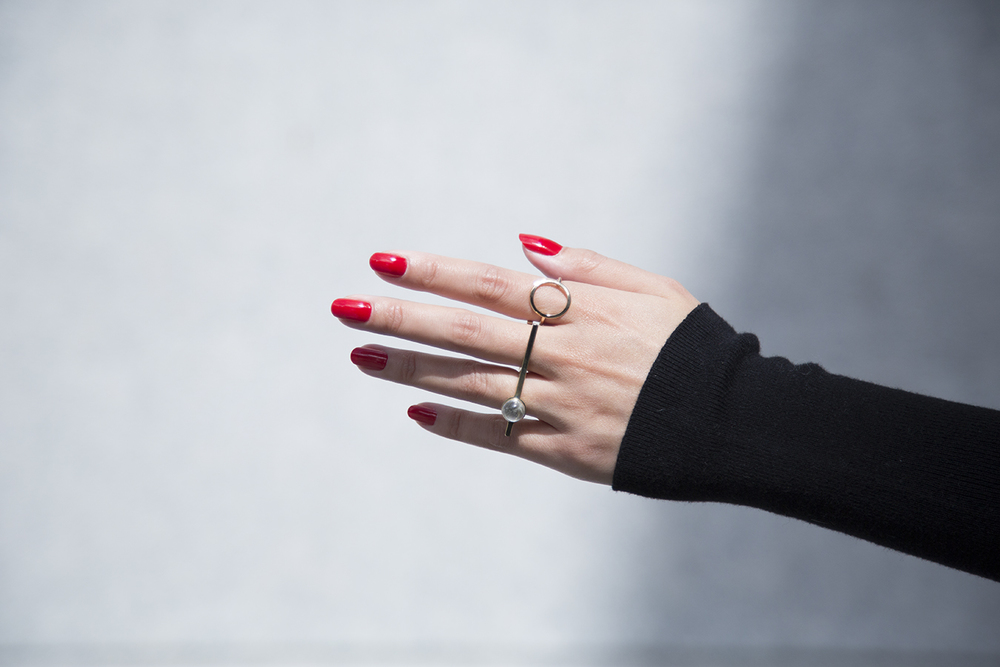 In this photo:    Pamela Love ,  H&M  rings Nails:  Tom Ford  - Scarlet Chinois