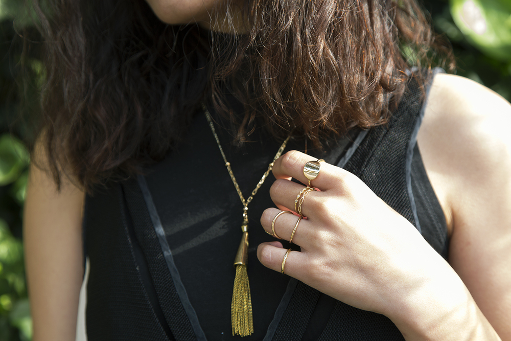 In this photo:   New Look  &  H&M  rings,  Vanessa Mooney  necklace