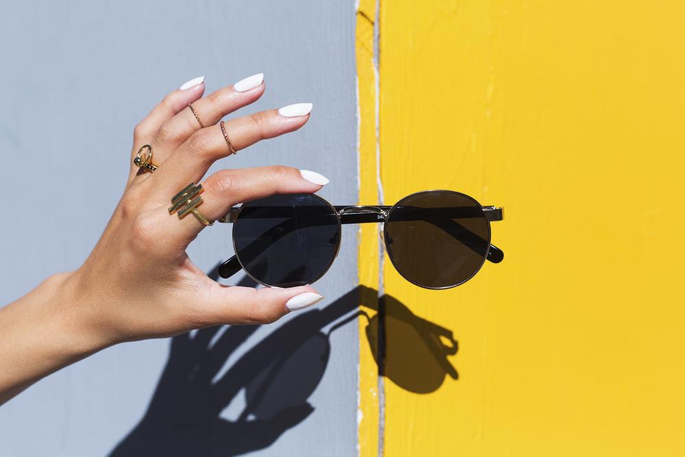 H&M dress, Tatte tote, Ferragamo slipper,  ZeroUV shades,  Pamela Love  &  Luv Aj  rings