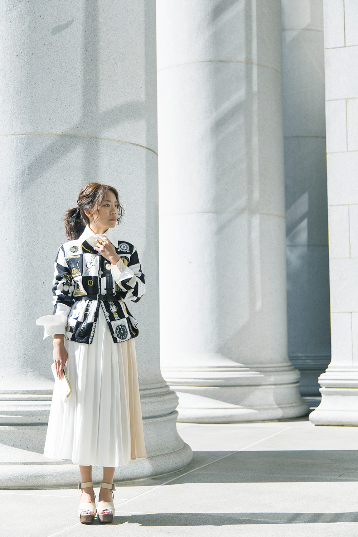 Envol Avec Ning  dress,  Thrifted  jacket & purse