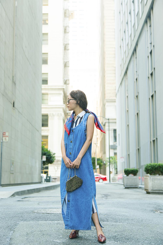 Vintage  denim dress, Gucci heels, neckerchief, purse.