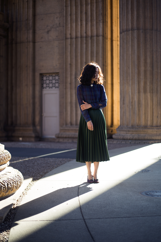 Madewell  shirt,  Zara  skirt,  Vintage  heels & brooch