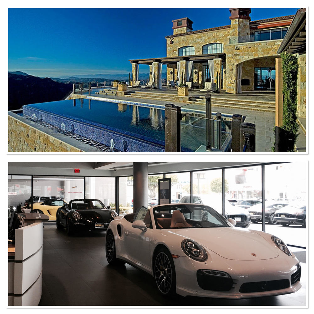 Examples of exclusive venues. Top: Malibu Rocky Oaks Estate Vineyards; Bottom: Porsche of Downtown LA