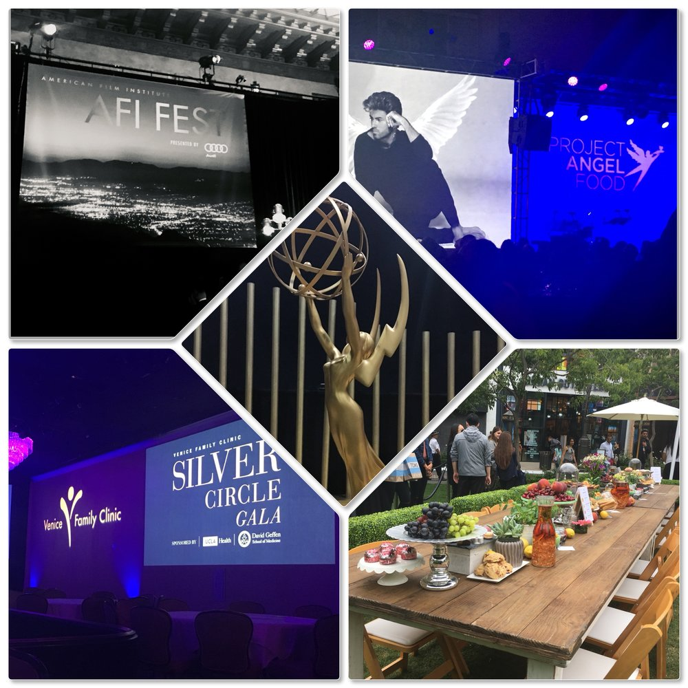 Clockwise Top L to R: 2017 AFI FEST, Project Angel Food Angel Awards, UrbanDaddy & NESTEA's LA Iced Tea Room, Venice Family Clinic Silver Circle Gala, 69th Annual Primetime Emmy Awards Governors Ball