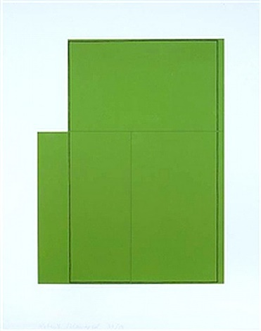 Robert Mangold, Rectangle within 3 rectangles-green, 1980