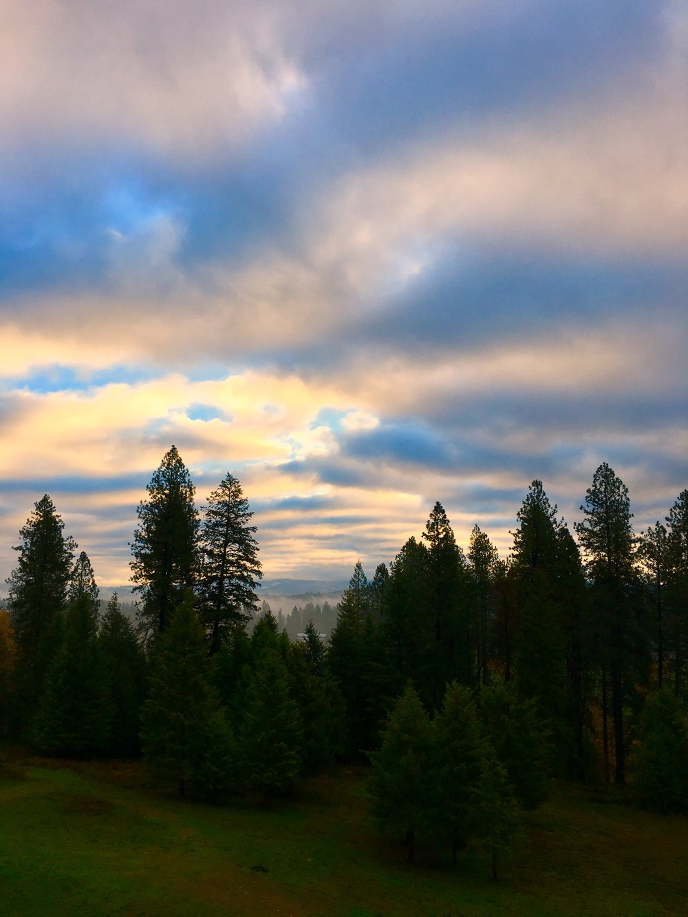The morning view from N. Spokane. A beautiful day for some window cleaning.