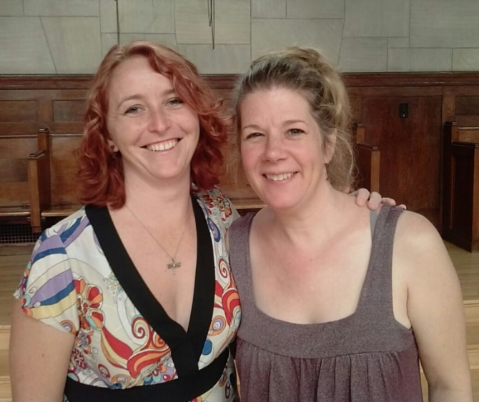 Ruby Ross and Dar Williams at the 2014 Writing A Song That Matters retreat in Garrison, NY.
