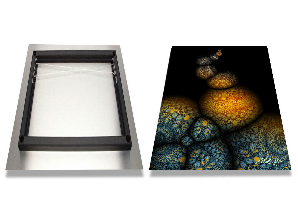 Aluminum - High Gloss White finish produces the brightest color and best image definition.Float Mount Hangers sit 2
