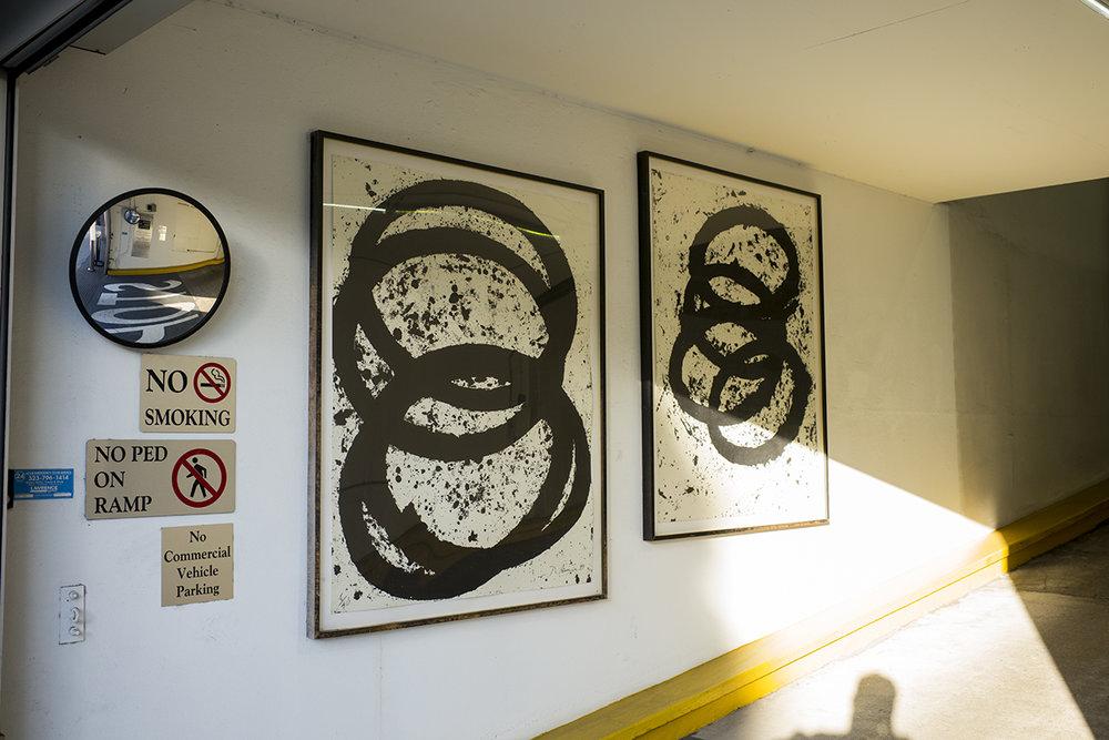 Works by Richard Serra in a parking garage, Beverly Hills