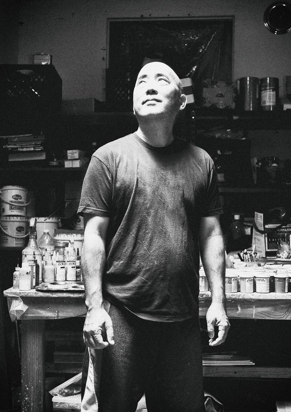 Bryan Ida  in his studio