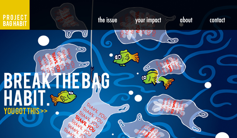 Project Bag Habit homepage (Original Photo Source: Behance)