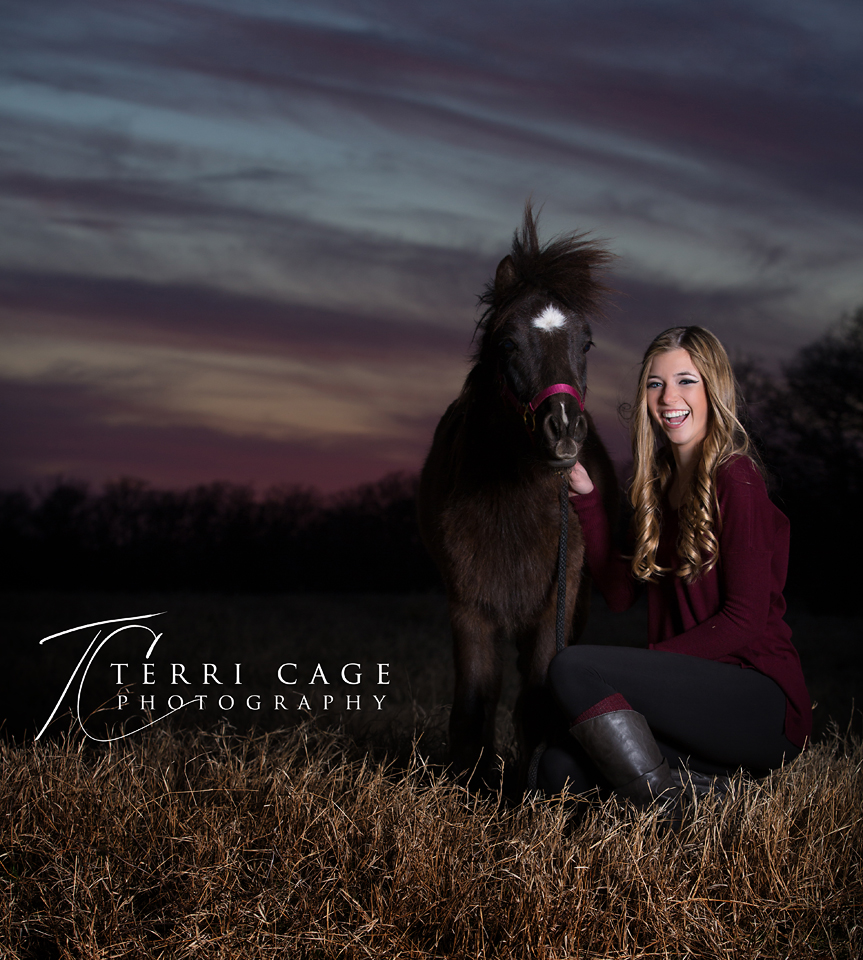 Senior with miniature horse photo