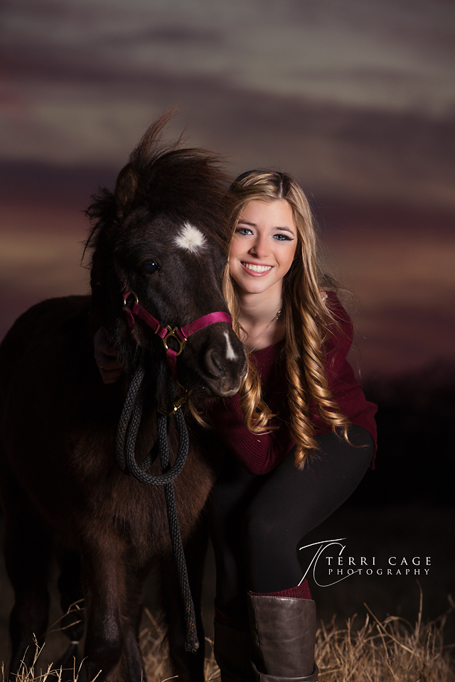 Senior with miniature horse portrait