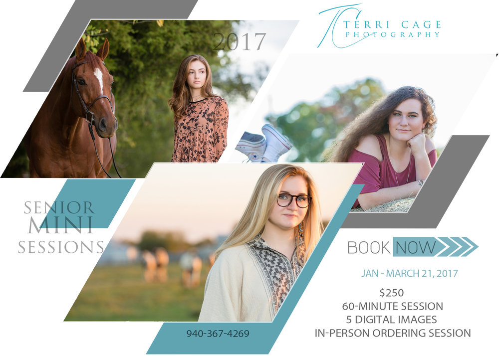 Senior Mini Sessions $250 Pre-consult 60-minute session 5 digital images with  print release In-person viewing and ordering session Add-ons available
