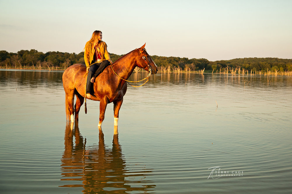 Girl on Horse in Water