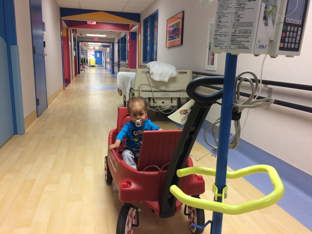 Strolling around the floor with the chemo still infusing
