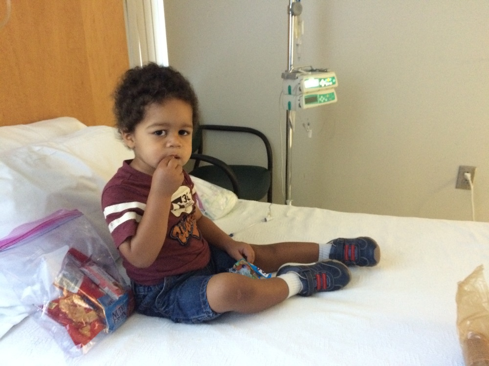 Day 446: Elliott has a snack while receiving immunoglobulin to boost his immune system at the oncology clinic.