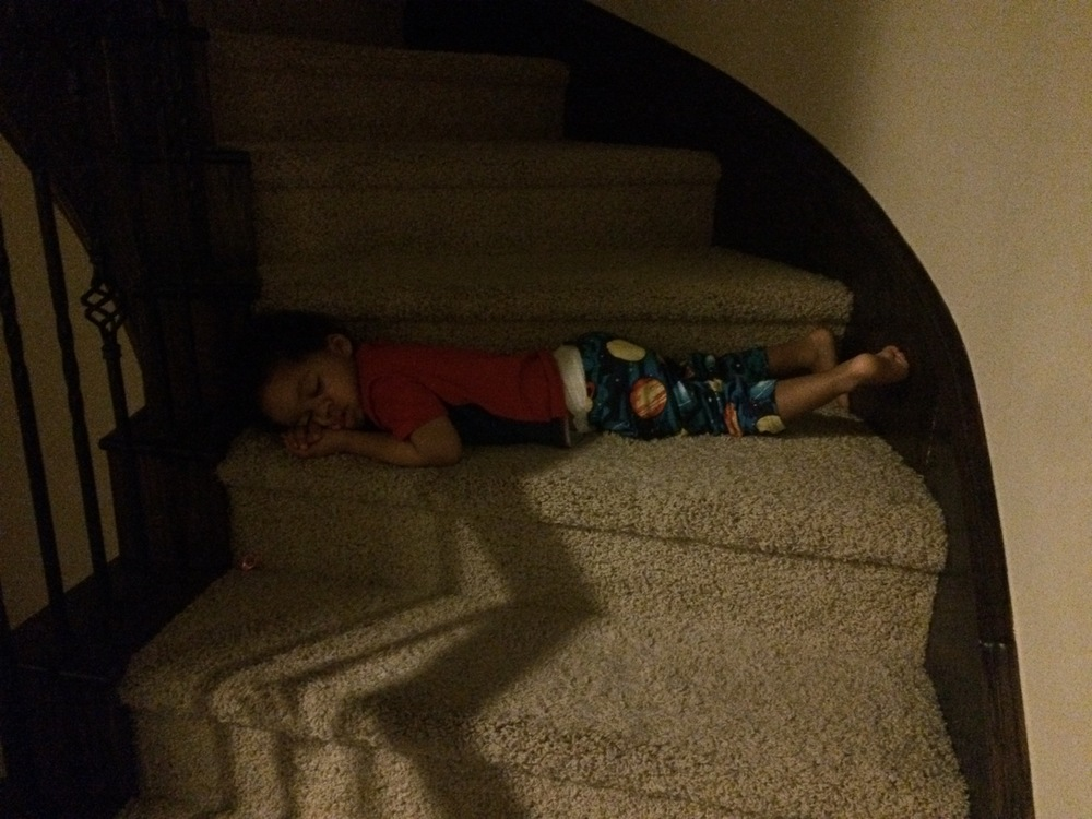 Day 575: We got ready to take Elliott his medication, only to find him asleep on the stairs.