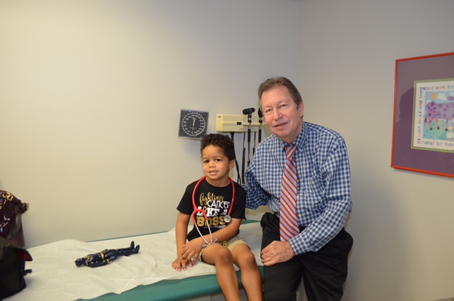 Dr. Lenarsky and Elliott before his last lumbar puncture.