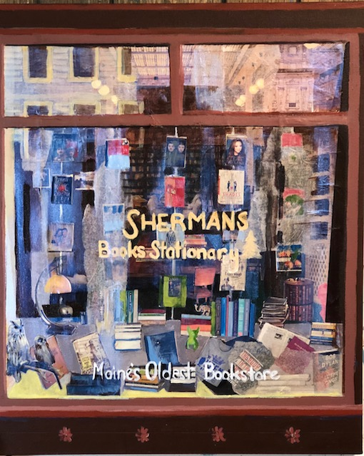 "Maine Bookstore, mixed Media, Susan Scott Kenney, 24""x 20"", $500.jpg"