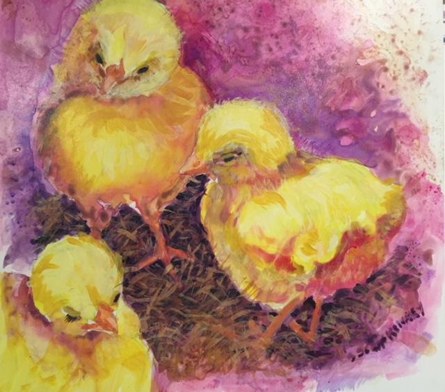 """Three Chicks, Fluid acrylic:clayboard, SUSAN Scott Kenney, 20x 20"""", $200.jpg"""