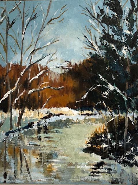 "Winter Reflection, Acrylic, SUSAN Scott Kenney, 20 x 16"", $475.jpg"
