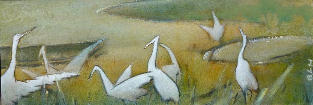 "swans lake, 8x18"""