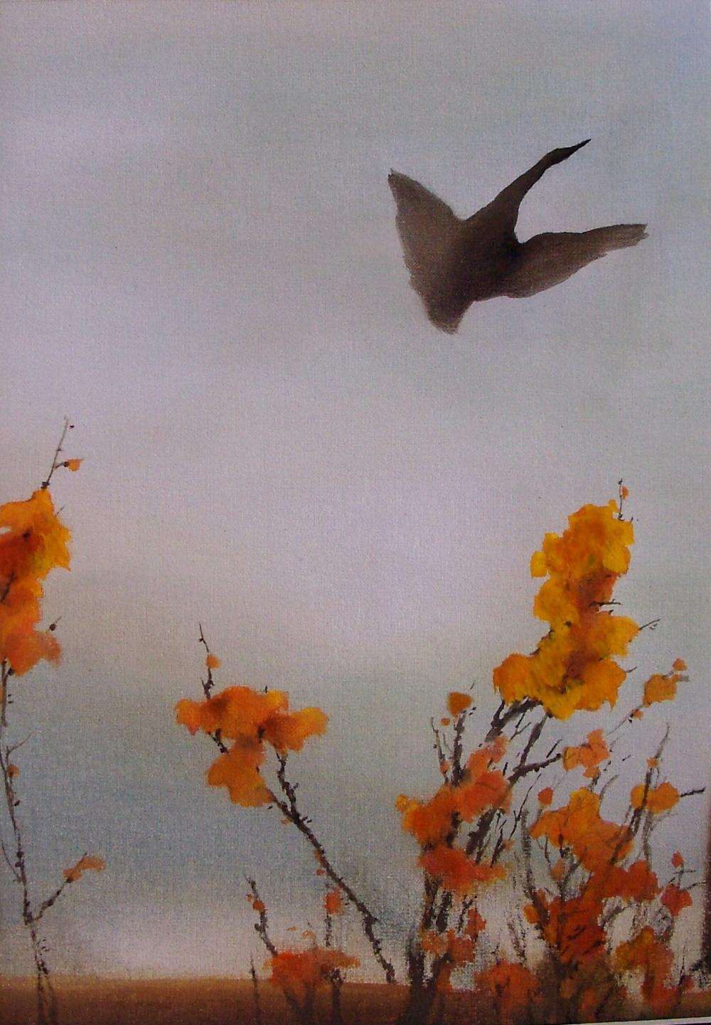 """goose in autumn, 15x11"""""""
