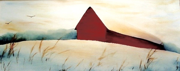 "red barn, 27x14"""