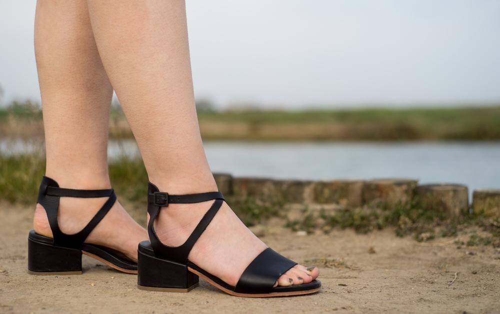 black cos sandals