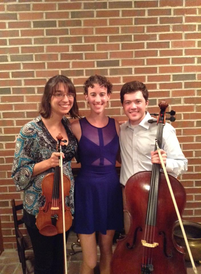 After a performance of Dvorak's Piano Trio No. 2 in G Minor  Pictured from left to right: Emilie Campanelli, Moriah Trenk, Jason Mooney