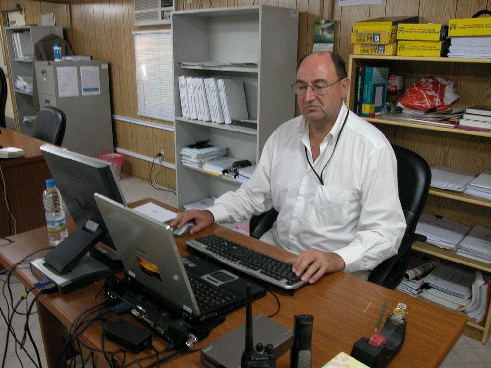 At work in the BearingPoint Project Office, Baghdad, Iraq