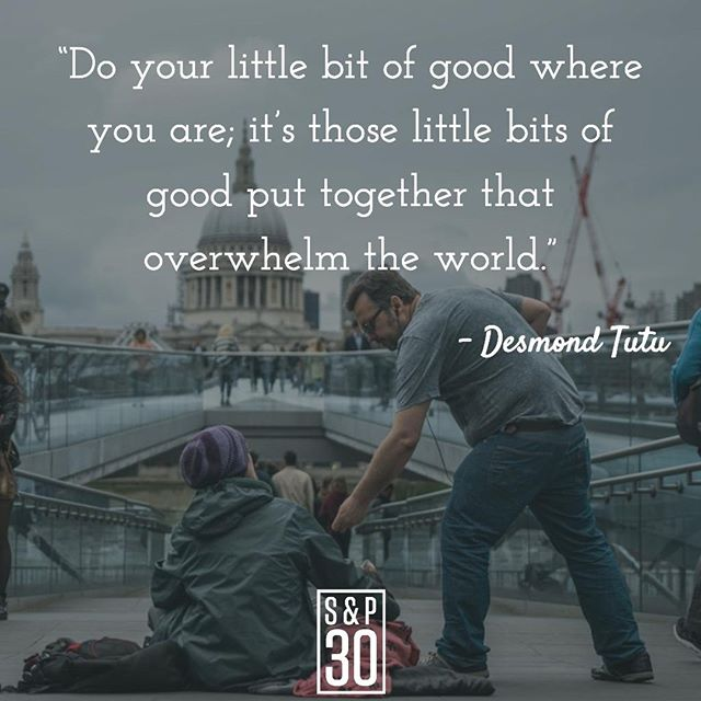 """""""It's only..."""" can be the two most dangerous words to use when diminishing the good that we do. Every bit of good that you do--no matter the size--adds a brick to the foundation of a better world. ⠀ --⠀ """"Do your little bit of good where you are; it's those little bits of good put together that overwhelm the world."""" – Desmond Tutu⠀ .⠀ .⠀ .⠀ #togetherisbetter #desmondtutu #humbleness #bandtogether #human #humanity #bishoptutu #quotepic #quotepics #inspiration #inspirational #inspired #inspiredlife #inspiringquotes #inspirationalquotes #motivation #motivationalquotes #motivationmonday #wisdomwednesday #lifequotes #instaquotes #kind #kindness #bekind #kindnessquotes #behappy #dogood #fulfillment #loveeachother"""
