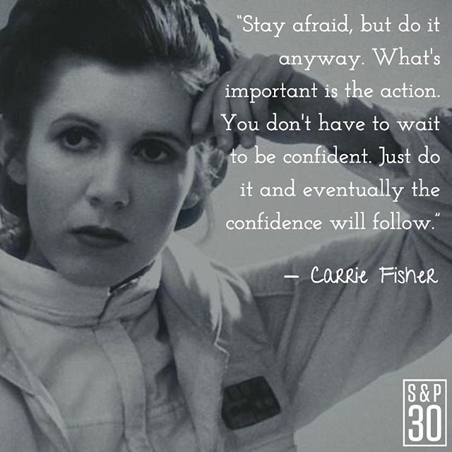 """Take every day as a chance to overcome your fears and act boldly for the future you want to build. ⠀ --⠀ """"Stay afraid, but do it anyway. What's important is the action. You don't have to wait to be confident. Just do it and eventually the confidence will follow."""" - Carrie Fisher⠀ .⠀ .⠀ #sp30 #growth #quotes #lifequotes #personalgrowth #pushyourself #nopainnogain #inspiredlife #chaseyourdreams #makeithappen #dreambig #success #successquotes #entrepreneur #entrepreneurquotes #entrepreneurship #believeinyourself #motivationalquotes #motivated #riseandgrind #gogetit #goodmusic #motivationthursday #wisdomwednesday #motivation #motivationmonday  #grind #startup #startupquotes #carriefisher"""