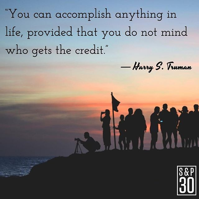 """You know how to tell if you're actually passionate about your big idea? You would be happy to see it get done, even if you're not the person to do it. ⠀ --⠀ """"You can accomplish anything in life, provided that you do not mind who gets the credit."""" - Harry S. Truman⠀ .⠀ .⠀ .⠀ #unity #togetherisbetter #unite #united #ego #humility #humble #humbleness #bandtogether #human #humanity #leader #leadership #leadershipquotes #quotepic #quotepics #inspiration #inspired #inspiredlife #inspiringquotes #inspirationalquotes #motivation #motivationalquotes #motivationmonday #wisdomwednesday #share #sharing #credit"""
